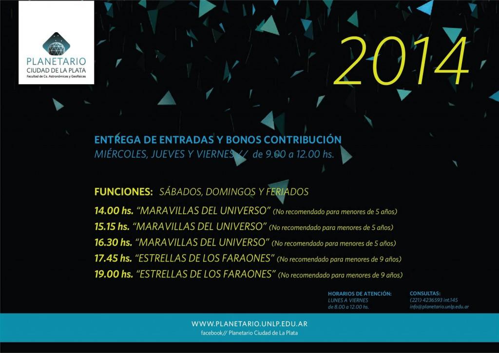 Folleto con los horarios y funciones del Planetario de La Plata en 2014