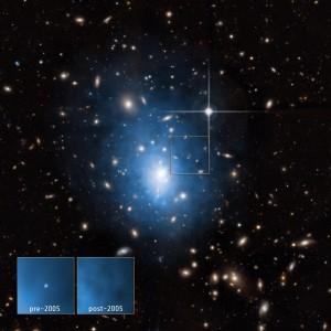 Galaxia enana en el cúmulo galáctico Abell 1795 en rayos x
