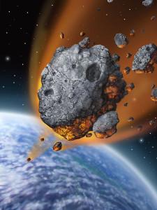 Ilustración de un asteroide cayendo en la Tierra