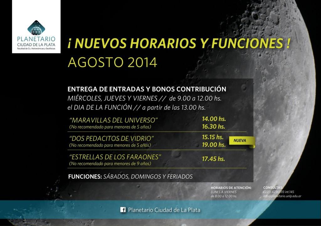 Folleto con los horarios y funciones del Planetario de la Plata